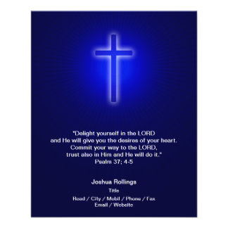 Christian Cross on navy blue background 11.5 Cm X 14 Cm Flyer