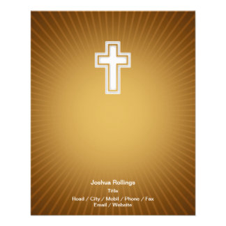 Christian Cross on orange background 11.5 Cm X 14 Cm Flyer