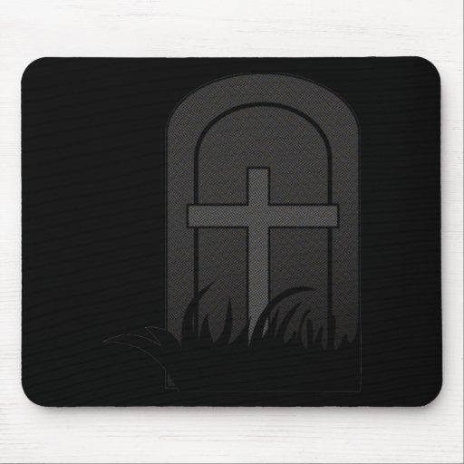 CHRISTIAN CROSS ON TOMBSTONE MOUSEPAD