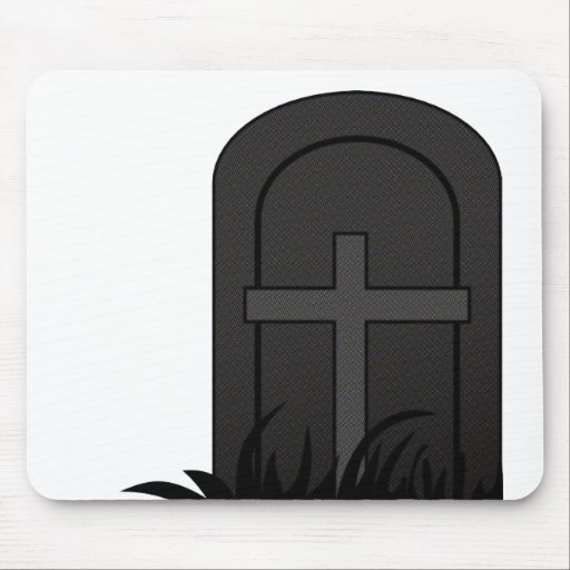 CHRISTIAN CROSS ON TOMBSTONE MOUSE PADS