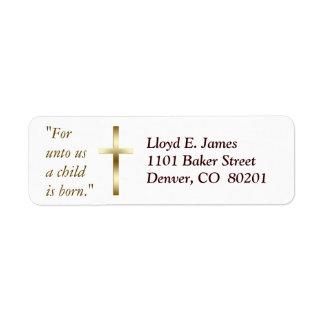 Christian Cross Return Address Label