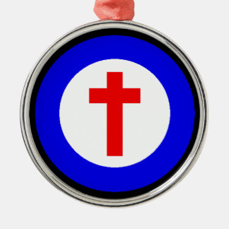 Christian Cross Silver-Colored Round Decoration