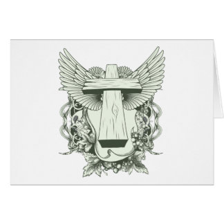 Christian Cross - Skulls - Wings Card