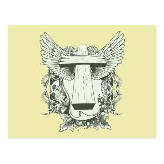 Christian Cross - Skulls - Wings Post Card