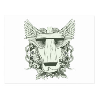 Christian Cross - Skulls - Wings Postcards