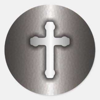 Christian Cross (Steel) Round Sticker