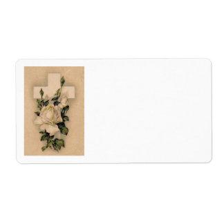 Christian Cross White Rose