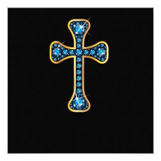 Christian Cross with Aquamarine Stones Announcement