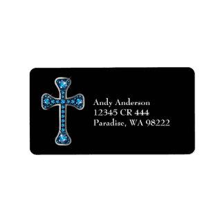 "Christian Cross with ""Aquamarine"" Stones Label"