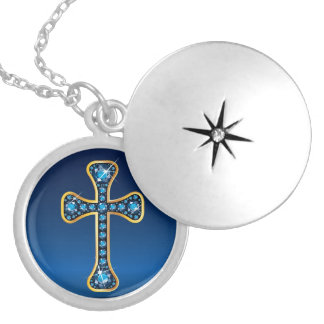 "Christian Cross with ""Aquamarine"" Stones Silver Plated Necklace"