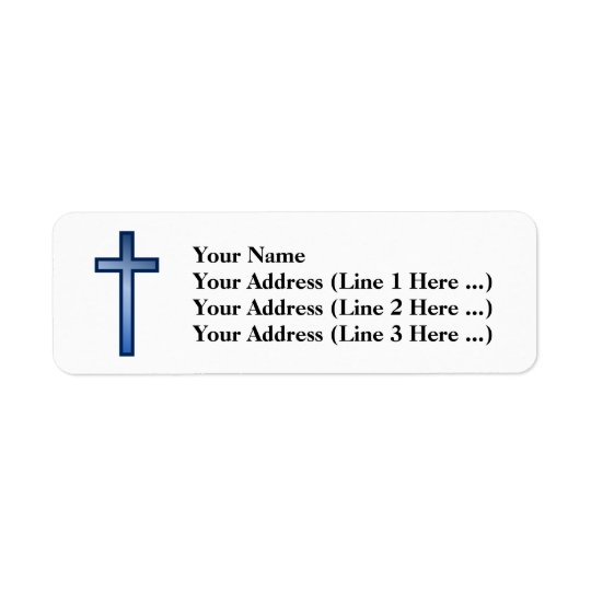 Christian Cross With Blue/White-Coloured Gradient Return Address Label