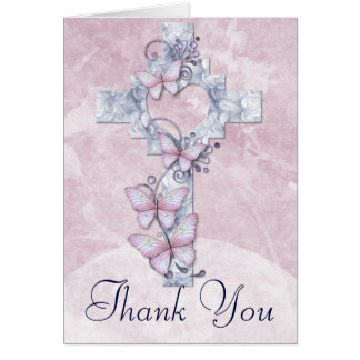 Christian Cross with Butterflies Thank You Card