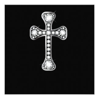 Christian Cross with Diamond Stones Invitations