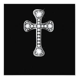 "Christian Cross with ""Diamond"" Stones Invitations"