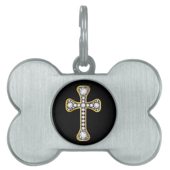 "Christian Cross with ""Diamond"" Stones Pet Name Tag"