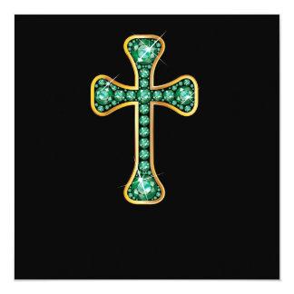 "Christian Cross with ""Emerald"" Stones 13 Cm X 13 Cm Square Invitation Card"