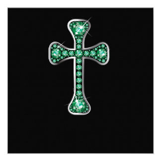 Christian Cross with Emerald Stones Personalized Announcement