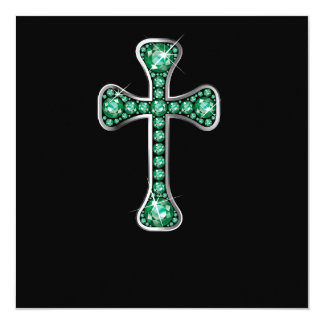 """Christian Cross with """"Emerald"""" Stones Personalized Announcement"""