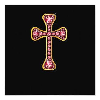 "Christian Cross with ""Emerald"" Stones Custom Invitation"