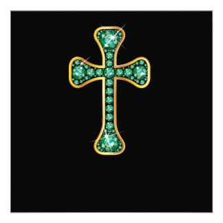 Christian Cross with Emerald Stones Custom Announcements