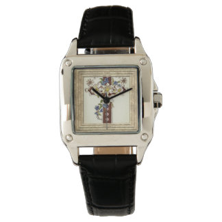 Christian Cross With Flowers Watch