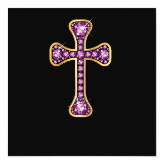 "Christian Cross with ""Garnet"" Stones Invite"