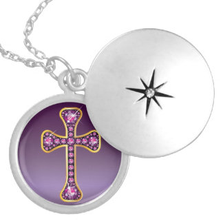 "Christian Cross with ""Garnet"" Stones Locket Necklace"
