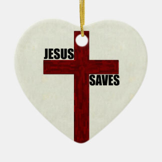 Christian Cross with Jesus Saves Ceramic Heart Decoration