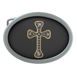 Christian Cross with Onyx Stones Oval Belt Buckle