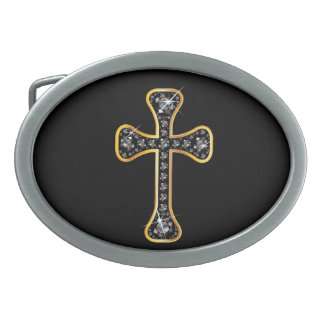 """Christian Cross with """"Onyx"""" Stones Oval Belt Buckles"""