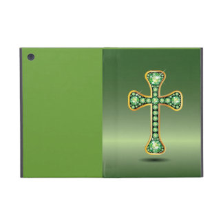 "Christian Cross with ""Peridot"" Stones Cover For iPad Mini"