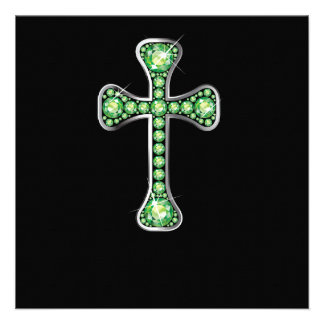 Christian Cross with Peridot Stones Personalized Announcement
