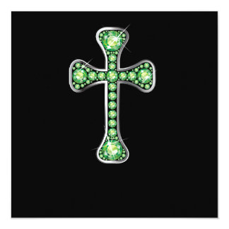 """Christian Cross with """"Peridot"""" Stones Personalized Announcement"""