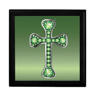 "Christian Cross with ""Peridot"" Stones Large Square Gift Box"