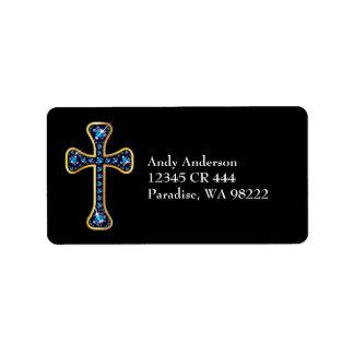 "Christian Cross with ""Sapphire"" Stones Address Label"