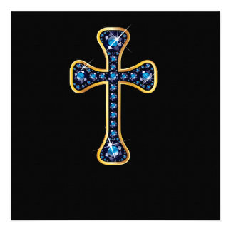 Christian Cross with Sapphire Stones Custom Invitations
