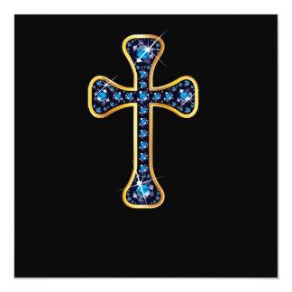 "Christian Cross with ""Sapphire"" Stones Custom Invitations"