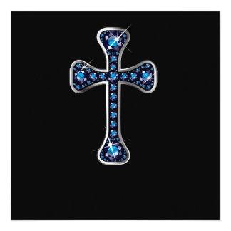 "Christian Cross with ""Sapphire"" Stones Custom Invite"