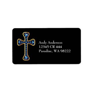 """Christian Cross with """"Sapphire"""" Stones Label"""