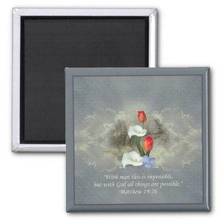Christian Faith Art ~ Matthew 19:26 Magnet