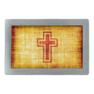 Christian Faith Cross on Parchment Paper Rectangular Belt Buckles