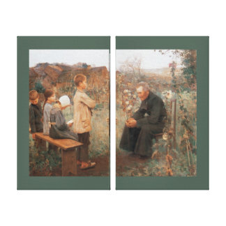 Christian Fine Art Catechism Lesson and Children Gallery Wrap Canvas