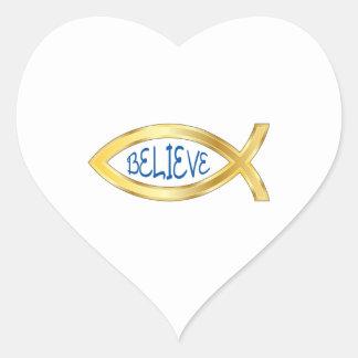 CHRISTIAN FISH BELIEVE HEART STICKER