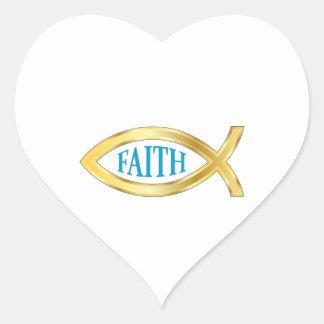 CHRISTIAN FISH FAITH HEART STICKER