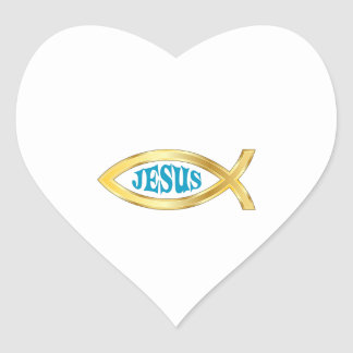 CHRISTIAN FISH JESUS HEART STICKER