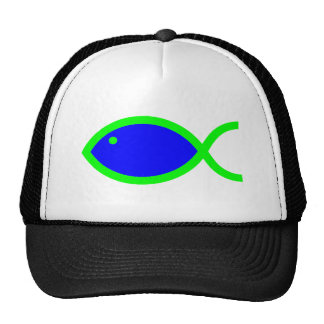 Christian Fish Symbol - Blue with Green Mesh Hat