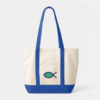 Christian Fish Symbol - Green with Dark Blue Impulse Tote Bag