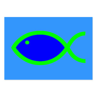Christian Fish Symbol - LOUD! Blue and Green Pack Of Chubby Business Cards