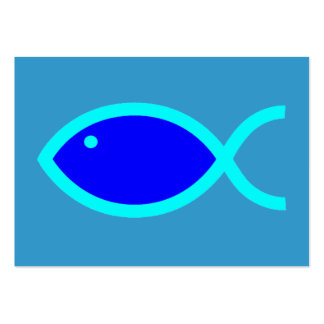Christian Fish Symbol LOUD! Blue-Aqua Tract Card / Pack Of Chubby Business Cards