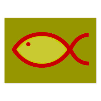 Christian Fish Symbol - LOUD! Gold and Red Pack Of Chubby Business Cards